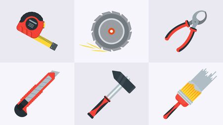 Tools for building construction, home repair in wooden toolbox. Hammer and pliers, saw and tape measure, brush and file. Flat vector icons. Background for animation.