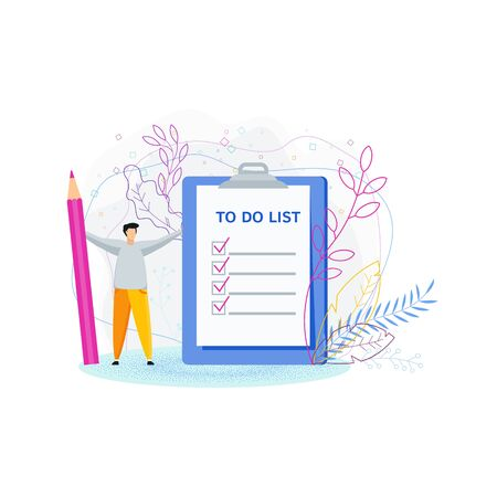 To do list concept. Tiny man with a huge pencil near the to-do list. Daily routine and planning, time management flat vector cartoon illustration. Objects isolated on background.