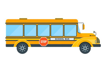 Yellow school bus on a white background. Education and schooling. Poster for advertising educational institutions, courses and trainings. Flat illustration  イラスト・ベクター素材