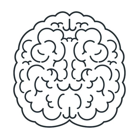 Icône de cerveau blanc, vue de dessus. Esprit, créativité et connaissance. Vecteurs