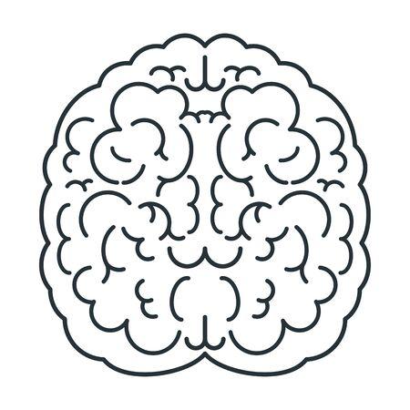 Icona bianca del cervello, vista dall'alto. Mente, creatività e conoscenza. Vettoriali