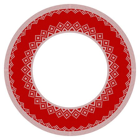 Round Knitted frame for Christmas greeting cards on white