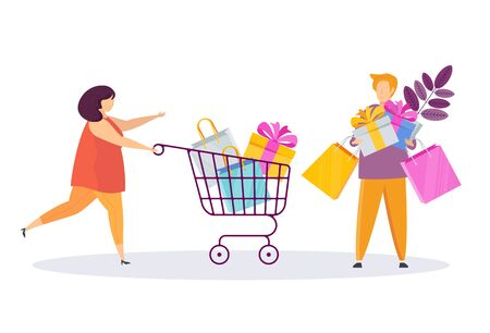 Woman and man with shopping trolley, bags and gifts.