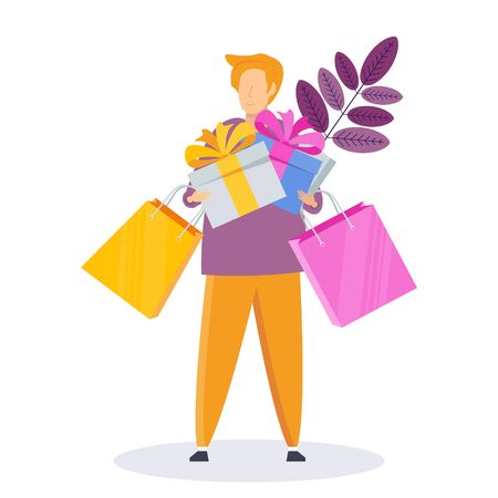 Man on shopping with bags and gifts.