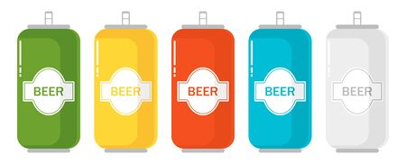 Set of color aluminum beer can.