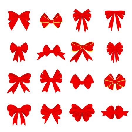 Elegant red bows from a wide ribbon. Decor for greeting cards