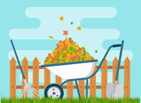 White wheelbarrow with a bunch of leaves Illustration