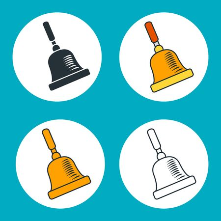 Set of outline icons of vintage school bell.