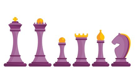 Set of figures for chess. Board logic game.