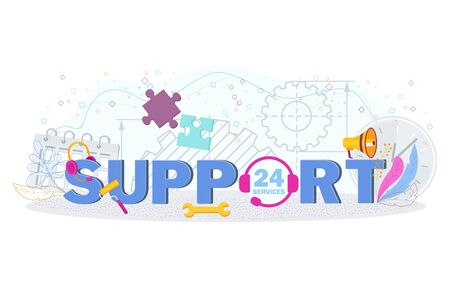 Technical customer support online. Flat Business typography. Ilustração