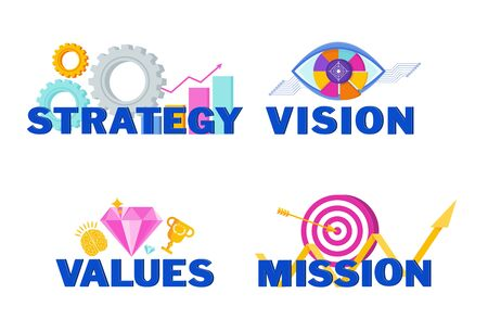 Business vision, mission, values and strategy statement. Ilustração