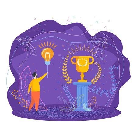 Deserved reward. Business metaphor. Trendy flat vector style illustration. Illustration
