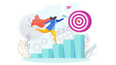 Career growth girl. Girl runs up the ladder of success.
