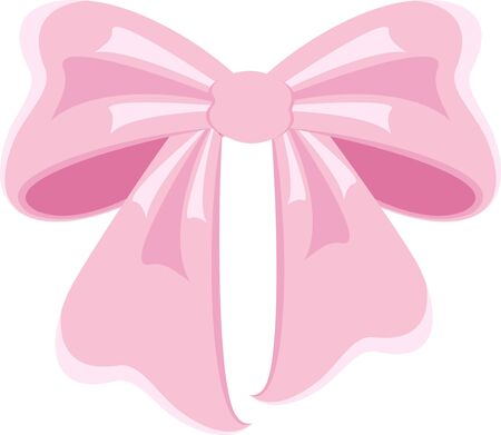 Elegant pink bow from a wide ribbon. Decor for greeting cards for birthday Banque d'images - 130781609