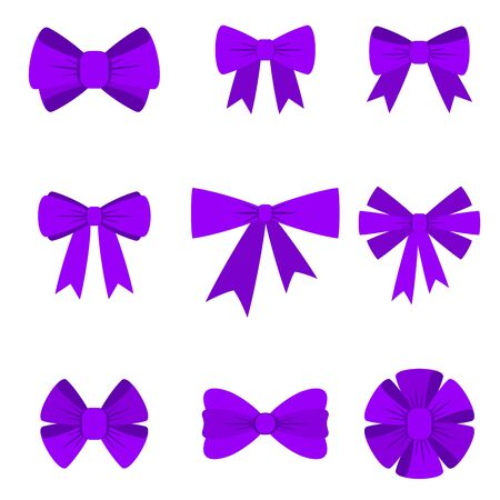 Elegant violet bows from a wide ribbon. Decor for greeting cards