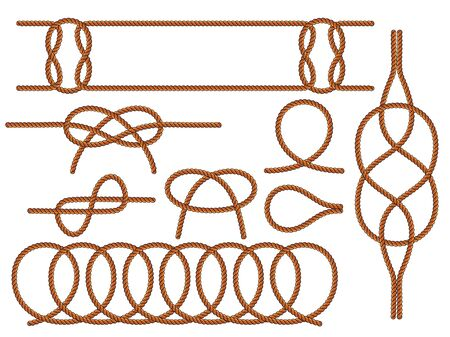 Set of nautical knots. Flat vector brown rope. Illustration