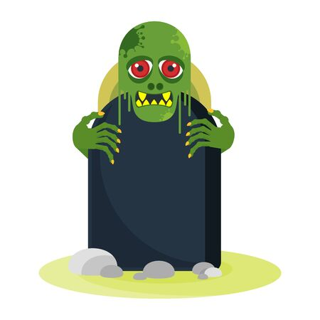 Green toothy zombie with red eyes peeps out from behind a gravestone. 版權商用圖片 - 130781610