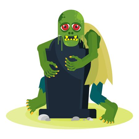Green toothy zombie with red eyes