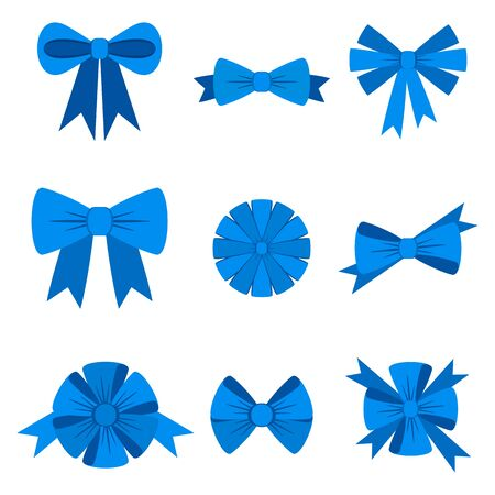 Elegant blue bows from a wide ribbon. Decor for greeting cards Banque d'images - 130781622