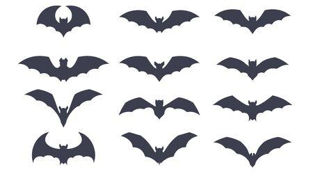Bat silhouette. Halloween icon set. Flat cartoon objects. 向量圖像