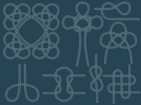 Set of nautical knots. Flat vector white outline rope.