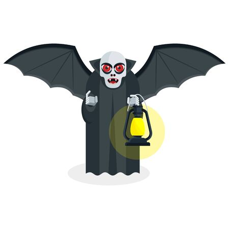 Pale skinny vampire with red evil eyes holds a lantern