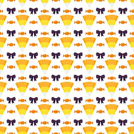 Halloween sweets seamless pattern on white background. Jelly, lollipop, candy and bow. Trick or treat, Guising. Decor for cards, scrap paper, packaging. Flat vector backdrop. Illustration