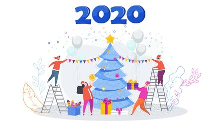 Greeting card for Merry Christmas and Happy New Year 2020.