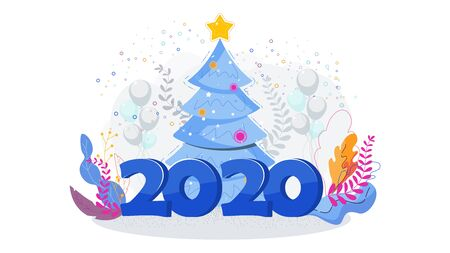Christmas tree and big numbers 2020.