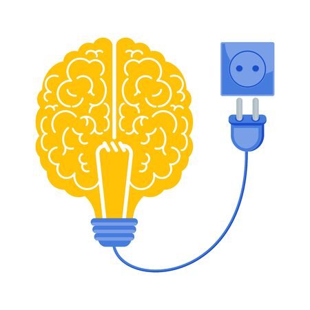 Connect the brain to an electrical network. Business metaphor. Idea, inspiration, mind and intelligence. Trendy flat vector style.