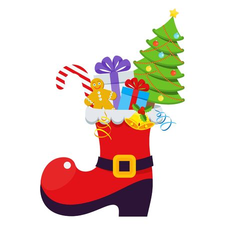Red Santa Claus boot with gifts, treats and christmas tree