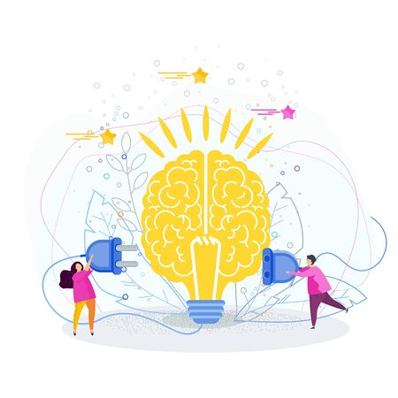 Tiny people connect the brain to an electrical network. Business metaphor. Idea, inspiration, mind and intelligence. Trendy flat vector style.
