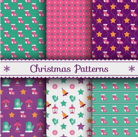 Christmas flat vector seamless pattern. Set of vibrant backgrounds for wrapping paper, textile, mailing list or website. Trendy flat vector style.
