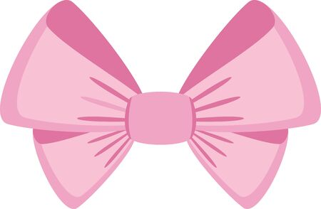 Elegant pink bows from a wide ribbon. Decor for greeting cards for birthday, christmas, new year. Gifts on sale, prize to winner. Surprises for holidays and packing presents. Flat illustration.