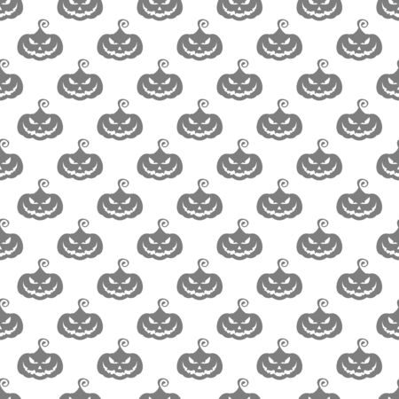 Flat cartoon Vector Halloween seamless pattern. Black icons of skull, spider and cobweb. Zombie pumpkin in the cemetery near the vampire castle. Bats fly in the moonlight. Ilustração