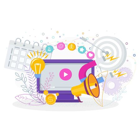 Video marketing attracts new clients, sells goods and services. Ilustração
