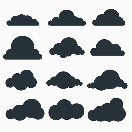 Set of small black cloud silhouettes in a flat style