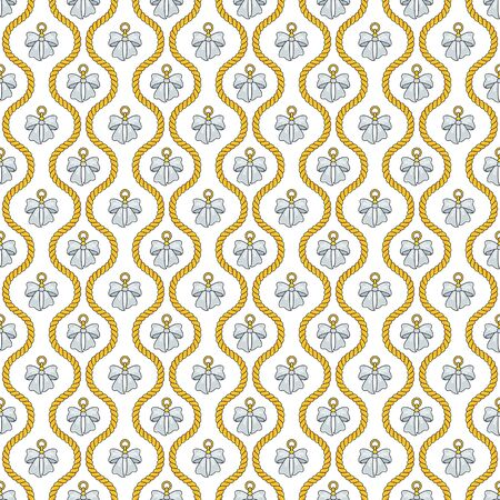 Seamless pattern with golden silk cords, bows and medallions.