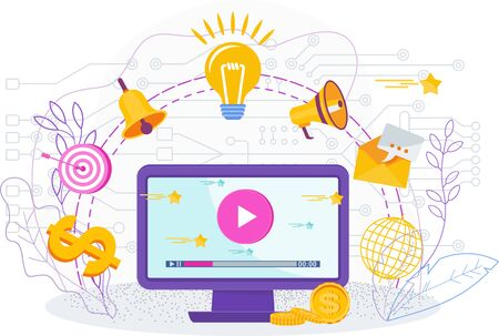 Video marketing attracts new clients, sells goods and services. Иллюстрация
