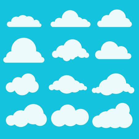 Set of small white clouds in a flat style Ilustração