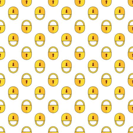 Seamless pattern with outline lock icon for fashion accessories
