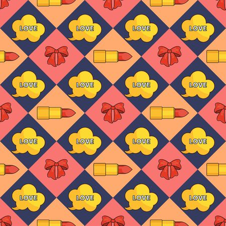 Seamless pattern with  lipstick and bow.