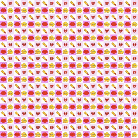 Seamless pattern with red plump sexy female lips, lipstick and bow.