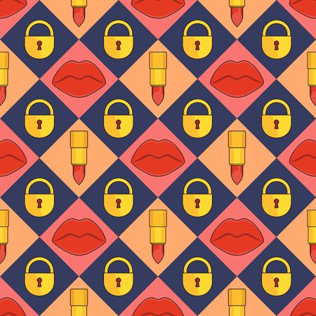 Seamless pattern with red plump sexy female lips, lipstick and lock.