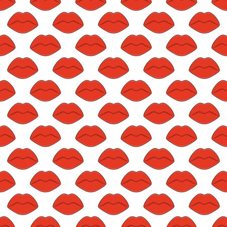 Seamless vecor pattern with red plump female lips  イラスト・ベクター素材