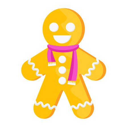 Gingerbread man in a pink scarf.