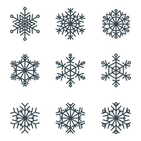 Set of elegant, openwork geometric  snowflakes.  イラスト・ベクター素材