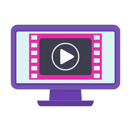 Monitor with video clip on the screen. Video marketing.