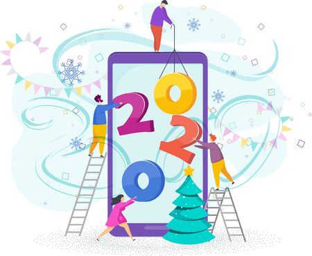 Tiny people set numbers 2020 on the screen of a mobile phone.  イラスト・ベクター素材