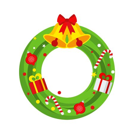 Christmas wreath on the door for greeting card